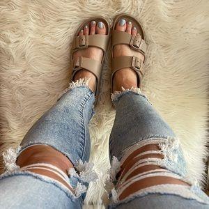 Dark Taupe Lightweight Footbed Sandals